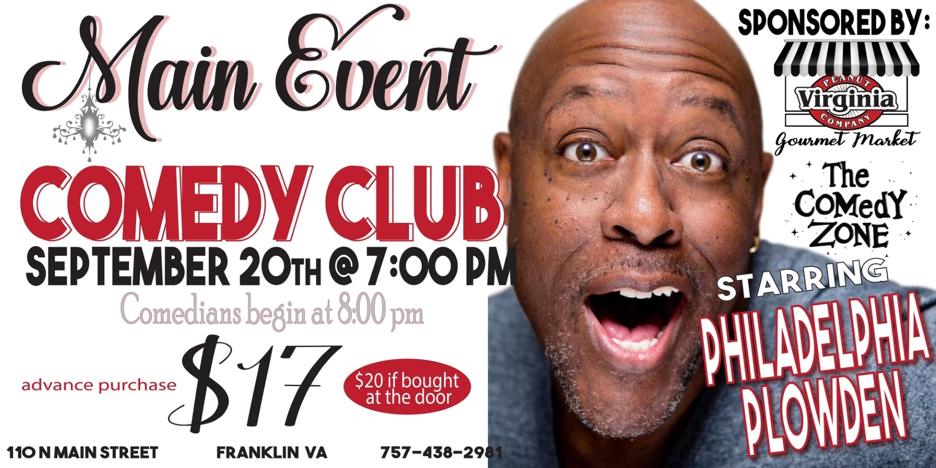 Main Event Comedy Club Starring Philadelphia Plowden